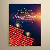 Beautiful diwali festival flyer background with crackers and fir. Eworks Royalty Free Stock Image