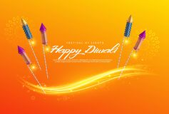 Beautiful diwali festival greeting background with fireworks. Vector Royalty Free Stock Photography
