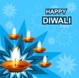 Beautiful diwali greeting card blue colorful. Illustration Stock Images