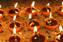 Beautiful diwali oil lamps Stock Photography