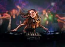 Beautiful DJ girl Royalty Free Stock Photography