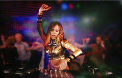 Beautiful DJ girl Royalty Free Stock Images