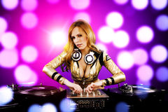 Beautiful DJ girl Royalty Free Stock Image