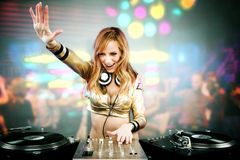 Beautiful DJ girl Stock Photo