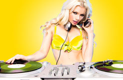 Beautiful DJ girl Royalty Free Stock Photos