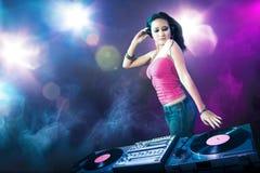 Beautiful DJ girl at the club vector illustration