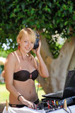 Beautiful DJ girl Stock Photography