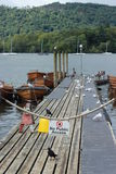 Beautiful dock in windermere. Small dock in Windermere with no public access sign Stock Image