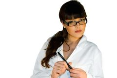 Beautiful doctor. Female doc with glasses isolated on white background Royalty Free Stock Photos