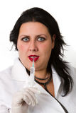 Beautiful doctor  in gloves Royalty Free Stock Photography