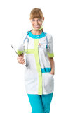 Beautiful doctor in her neck stethoscope Royalty Free Stock Photos
