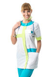Beautiful doctor in her neck stethoscope stock image