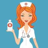 Beautiful doctor holding medicine Royalty Free Stock Image