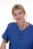 Beautiful Doctor or Nurse 18. Headshot photo of beautiful nurse or doctor with stethoscope Royalty Free Stock Photography