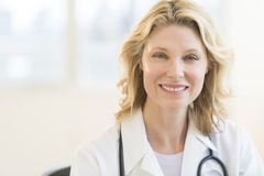 Beautiful Doctor Smiling In Clinic Royalty Free Stock Images