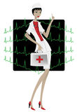 Beautiful doctor woman. Dressed in white coat, with suitcase, talking about EKG Stock Photos