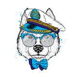 A beautiful dog in captain`s cap, glasses and tie. Vector illustration for a postcard or poster, print on clothes. Purebred puppy. Royalty Free Stock Photography