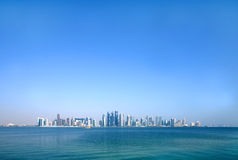 Beautiful Doha skyline through wide angle Stock Photography