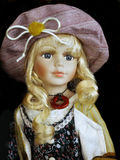 Beautiful Doll Toy. Vintage Classic hand-painted ceramic doll Royalty Free Stock Photos