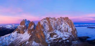 Beautiful Dolomites peaks panoramic view. stock images