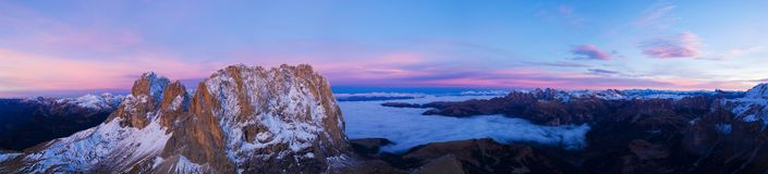 Beautiful Dolomites peaks panoramic view. royalty free stock images