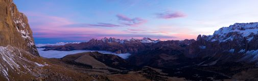 Beautiful Dolomites peaks panoramic view. royalty free stock photo