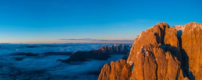 Beautiful Dolomites peaks panoramic view. stock image
