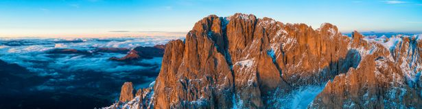 Beautiful Dolomites peaks panoramic view stock image