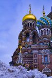 Beautiful domes of the Savior on Blood Cathedral royalty free stock photo