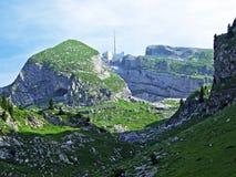 The beautiful and dominant alpine peak of Säntis in Alpstein mountain range. Canton of Appenzell Innerrhoden, Switzerland royalty free stock image