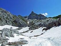 The beautiful and dominant alpine peak of Säntis in Alpstein mountain range. Canton of Appenzell Innerrhoden, Switzerland stock photography