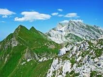 The beautiful and dominant alpine peak of Säntis in Alpstein mountain range. Canton of Appenzell Innerrhoden, Switzerland royalty free stock images