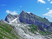 The beautiful and dominant alpine peak of Säntis in Alpstein mountain range. Canton of Appenzell Innerrhoden, Switzerland stock photo