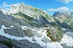 The beautiful and dominant alpine peak of Säntis in Alpstein mountain range. Canton of Appenzell Innerrhoden, Switzerland royalty free stock photo
