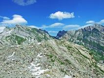 The beautiful and dominant alpine peak of Säntis in Alpstein mountain range. Canton of Appenzell Innerrhoden, Switzerland stock image