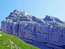 The beautiful and dominant alpine peak of Säntis in Alpstein mountain range. Canton of Appenzell Innerrhoden, Switzerland stock images