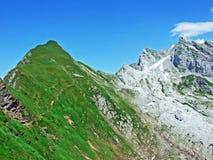 The beautiful and dominant alpine peak of Säntis in Alpstein mountain range. Canton of Appenzell Innerrhoden, Switzerland royalty free stock photos