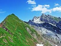 The beautiful and dominant alpine peak of Säntis in Alpstein mountain range. Canton of Appenzell Innerrhoden, Switzerland royalty free stock photography