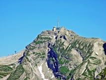 The beautiful and dominant alpine peak of Säntis Santis or Saentis in Alpstein mountain range. Canton of Appenzell Innerrhoden, Switzerland stock photography