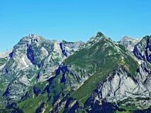 The beautiful and dominant alpine peak of Säntis Santis or Saentis in Alpstein mountain range. Canton of Appenzell Innerrhoden, Switzerland royalty free stock photography