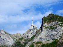 The beautiful and dominant alpine peak of Säntis Santis or Saentis in Alpstein mountain range. Canton of Appenzell Innerrhoden, Switzerland royalty free stock image