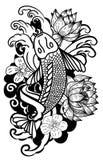 Beautiful doodle art Koi carp tattoo design Stock Photos