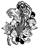 Beautiful doodle art Koi carp tattoo design. Black and white Koi fish vector,Hand drawn Japanese Tattoo design,Japanese carp line drawing coloring book vector Stock Photos