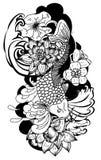 Beautiful doodle art Koi carp tattoo design. Black and white Koi fish vector,Hand drawn Japanese Tattoo design,Japanese carp line drawing coloring book vector Royalty Free Stock Photos
