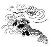 Beautiful doodle art Koi carp tattoo design. Black and white Koi fish vector,Hand drawn Japanese Tattoo design,Japanese carp line drawing coloring book vector Stock Images