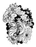 Beautiful doodle art Koi carp tattoo design. Black and white Koi fish vector,Hand drawn Japanese Tattoo design,Japanese carp line drawing coloring book vector Royalty Free Stock Photography