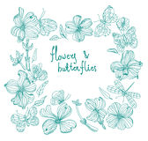 Beautiful Doodle flower set Royalty Free Stock Image