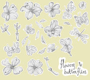 Beautiful Doodle flower set Stock Image