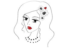 Beautiful doodle girl Royalty Free Stock Photography
