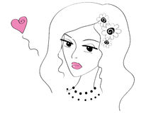 Beautiful doodle girl in love Royalty Free Stock Photo
